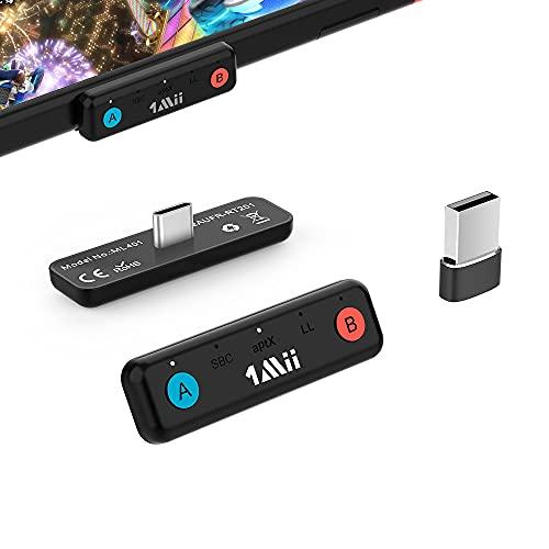 1Mii Adaptador Bluetooth para Nintendo Switch  PC  PS4 PS5, Transmisor Audio Bluetooth 5.0 USB, AptX de Baja Latencia Micrófono Incorporado para Dual Link Auriculares Bluetooth, Altavoces Bluetooth