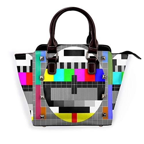 BROWCIN Video Pal Kreis Glitch TV-Test Regenbogen klare Übertragung orientalische mehrfarbige abstrakte Muster Abnehmbare mode trend damen handtasche umhängetasche umhängetasche