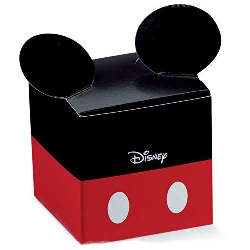 Ingrosso e Risparmio 12 Cubi Porta Confetti, cioccolatini, per Piccoli oggettini, con Orecchie di Topolino Rosse e Nere, confettate Particolari Compleanno 1 Anno Bimbo (Senza confezionamento)