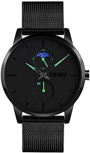 QHG Reloj de Pulsera de los Hombres, Reloj Ultra Delgado a Prueba de Agua para Hombres, Reloj de Cuarzo analógico con Banda de Acero Inoxidable (Color : Green)