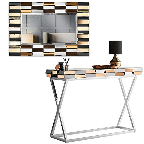 CARME Knightsbridge Collection - Wall Mirror - Mirrored Console Table - Mirrored Side Table With Drawer Combo Glass Furniture (Set 2 Rectangle Mirror + Console Table Rose Gold)