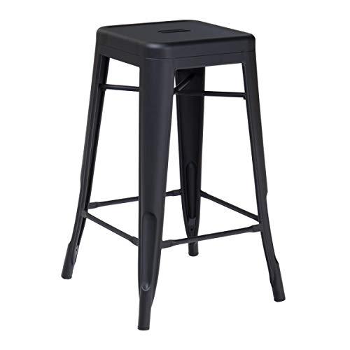 KOSMI - Taburete de bar en metal negro mate, altura media de