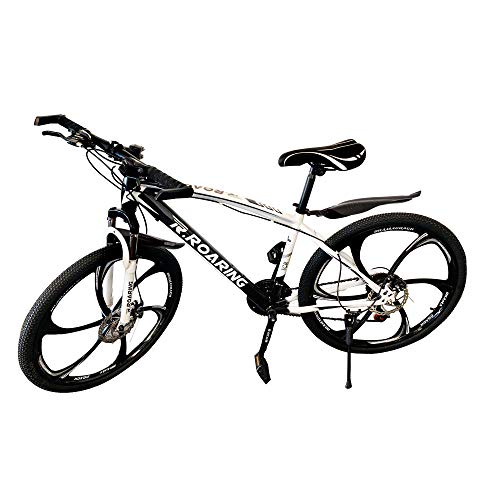 HGmart Mountain Bike 21 Speed Double Disc Brake 26-inch Wheels 6 Spoke Bicycle Front Suspension MTB for Adult or Teens, Black White
