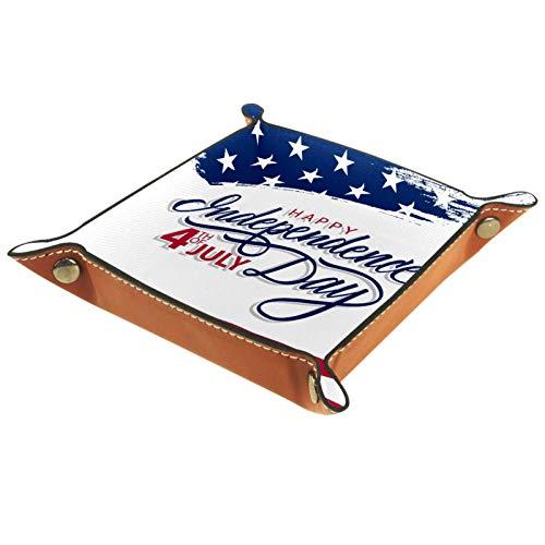 Tablett aus PU-Leder, für Damen und Herren, zur Aufbewahrung von Schmuck, Schlüsseln, Münzen, Handy, Schmuck, Geldbörse, etc.