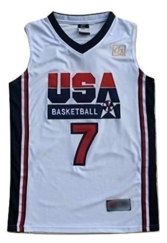 WOLFIRE WF Camiseta de Baloncesto para Hombre, NBA, Boston Celtics # 33 Larry Bird Bordado, Transpirable y Resistente al Desgaste Camiseta Retro, Classic (Bird USA 1992 Blanco, M)