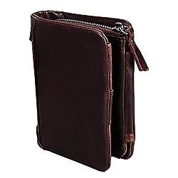 Geldbörsen mit RFID Schutzhülle Herren Echtleder Portemonnaie Für Männer Reißverschluss Geldtasche Kaffee