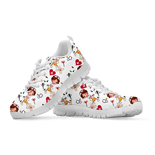Coloranimal Léger Femmes Casual Lacets Sport Chaussures De Course Carton Infirmière Médecin Motif Dames Respirant Jogging Extérieur Mesh Sneakers EU38