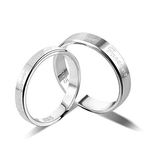 SonMo Ring aus Silber 925 Verlobungsring Ehering Partnerring Liebe für Immer Silber Größe:54 (17.2)