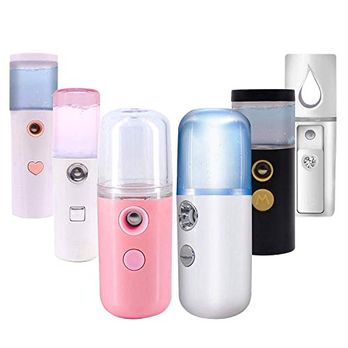 Nano Facial Mister, Cool Mist Facial Steamer Handy Mist Sprayer with Mirror Design on Top, Moisturizing and Hydrating for Skin Care, Makeup, Eyelash Extensions (Random Design & Color))