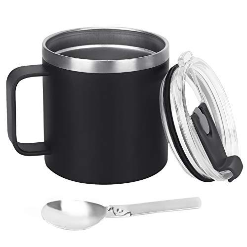 Aceshop Tazza da caffè Tazza da Viaggio in Acciaio Inossidabile 500ml Isolata da Viaggio Tazza Termica Riutilizzabile con Coperchio a Tenuta Stagna e Cucchiaio per caffè Caldo tè e Bevande Fredde