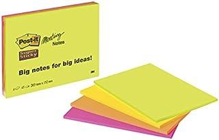 Post-it - 6845-SSP - Super Sticky Notes repositionnables - 203x152mm - Multicolore (Néon Assorties) - Lot de 4 blocs