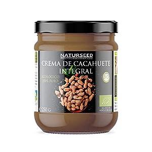 NATURSEED Crema de Cacahuete Organica 100% Natural Ecologica - Sin azúcar, Sin Sal, Sin Gluten, Sin Lactosa - Cacahuetes Bio Europeos Crudos con Piel - Sabor Dulce - Proteinas - Gratis Recetas (250GR)