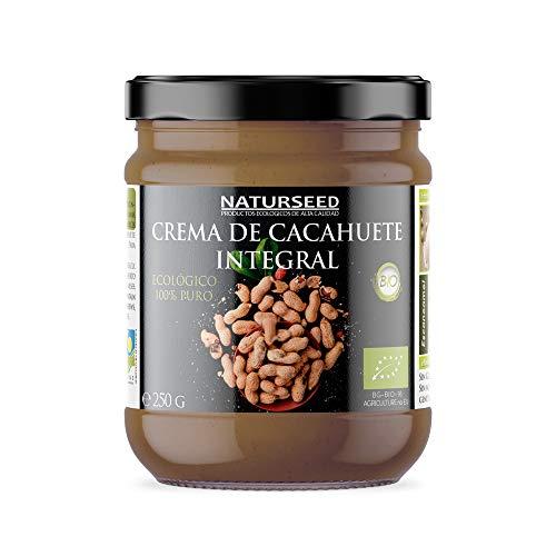 Naturseed - Beurre de cacahuète organique 100% naturel - Sans sucre, sans sel, sans gluten, sans lactose - Cacahuètes crues avec peau - Saveur douce - Protéines - Recettes gratuites (250gr)