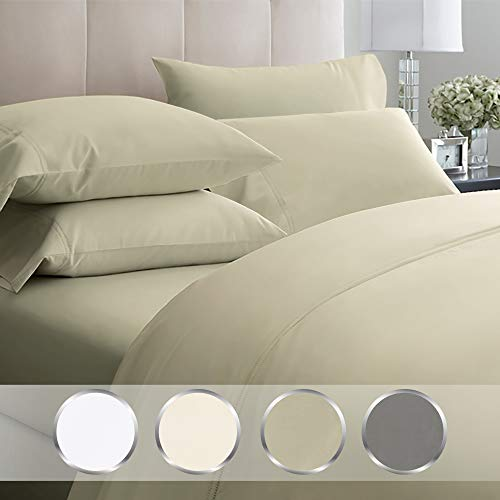 California Design Den High Thread Count Queen Sheets - 1000 TC 100% Extra Long Staple Cotton, 4 Piece Taupe Sheet Set, Egyptian Quality Luxury Bedding, Deep Pocket Fits Mattress 16 Inches