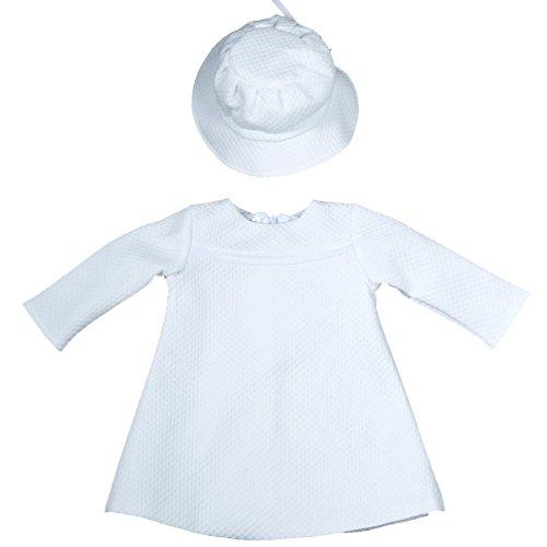 Celebration Babykleid weiß Taufkleid Etuikleid Set mit Hut Langarm Modell 42 Gr. 80