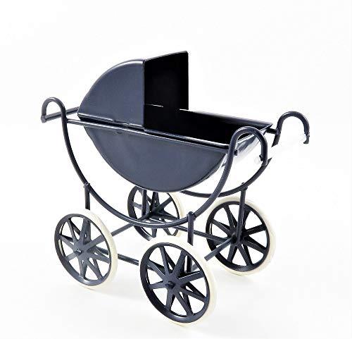 Dolls House Navy & White Baby Pram 1:12 Scale Old Fashioned Nursery Furniture