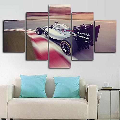 ComposicióN De 5 Cuadros De Madera Para Pared Formula 1 Car Racing Canvas Print Cuadros Decoracion Dormitorios Cuadros Para Cabeceros De Cama Lienzos Decorativos Cuadros Grandes Baratos 150x80cm