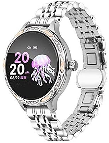 Moda Mujer Smart Watch M9 Tarifa cardíaca Monitor de presión Arterial IP68 Pedómetro Deportivo a Prueba de Agua Smartwatch para iOS Android (Color : Silver)