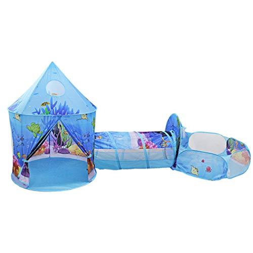 3 in 1 Draagbaar vouwen Kindertent Ocean Ball Pool Kindertenten met kruiptunnel Grote ballenbak Speel tent Speelhuisje Tipi voor kinderen cadeau,Blue