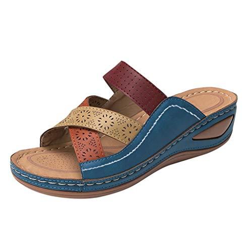 sandali tacco alto sandali comodi ciabatta donna pantofol gomma ciabatta estiva donna ciabatte donna estive ortopediche infradito donna eleganti con strass sandalo tacco largo (A40-Blue,35)