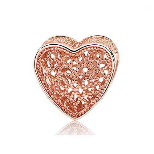 TWWSA Cuentas espaciadoras 925 Sterling Siling Charm Bead Colgante Spacer Clip Charms Rose Gold Color Fit Brazalets DIY Jewelry Hecho a Mano (Color : Fill with Romance)