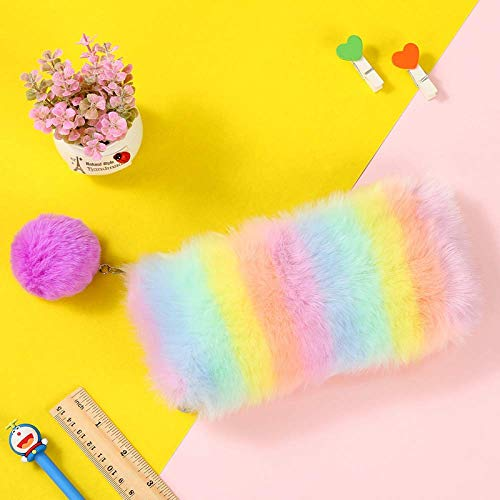 Estuche multicolor para lápices de colores arcoíris para mujeres y niñas, suministros escolares lindos de piel de conejo, bolsa de cosméticos