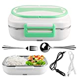 BeautyLifee Electric Lunch Box Multi-purpose Bento Meal Heater Portable for Food Heating, Meal Warmer Lunch Warmer Box for Home Office Travel Use 110V and 12V (Green)