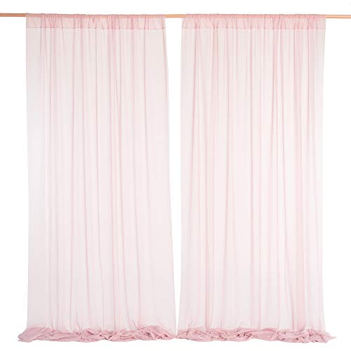 Ling's moment Wrinkle-Free 50% Transparency Backdrop Dusty Rose Curtains 10ft x 10ft Chiffon Fabric Drapes for Wedding Arch Party Stage Decoration