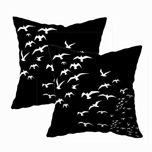 N\A Funda de Almohada Navidad, Paquete de 2 Fundas de Almohada Feliz Navidad Decoración Bird Life Cuadrado Impresión a Doble Cara