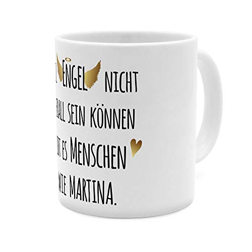 printplanet Tasse mit Namen Martina - Motiv Engel überall - Namenstasse, Kaffeebecher, Mug, Becher, Kaffeetasse - Farbe Weiß