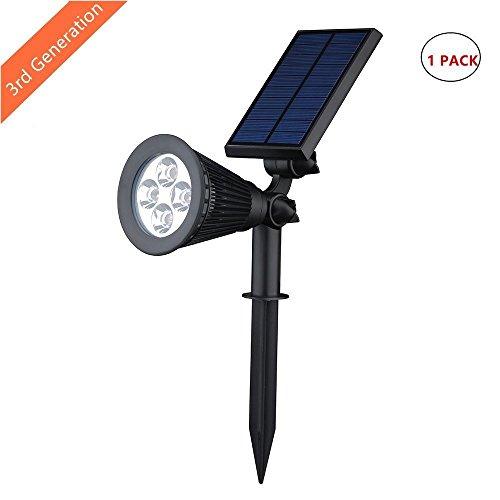 LEDemain Lampada Solare Luminosa 200LM Impermeabile e Resistente con Sensore di Crepuscolare, Luce di sicurezza Ricaricabile per Giardini (1 Pack)