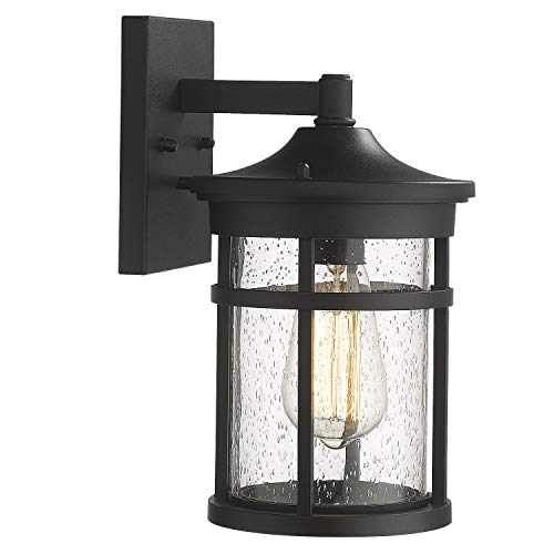 Emliviar Outdoor Wall Light Fixture, Exterior Wall Sconce Lantern, Black Finish with Seeded Glass, 2085B3 BK