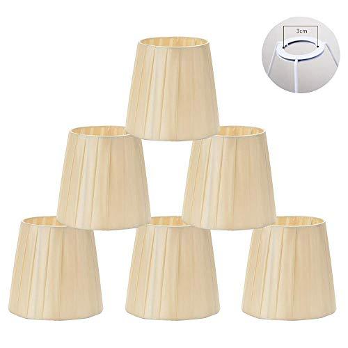 Paralumi per la candela lampadario di cristallo, 6 pezzi Set E14 vite Shades piccola lampada per Droplight Accessori bar Decorazione Comodino Lampada da parete 11 centimetri * 14cm * 15cm,Beige