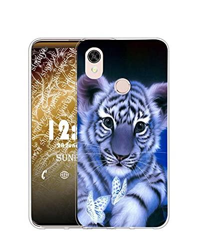 Sunrive Kompatibel mit Cat S52 Hülle Silikon, Transparent Handyhülle Schutzhülle Etui Hülle (Q Tiger)+Gratis Universal Eingabestift MEHRWEG