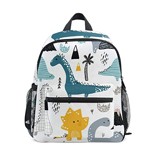 ISAOA Dino Scandinavian Style Backpack for Boys,Kid's Schoolbag for Kindergarten Preschool Toddler Baby Nursery Travel Bag with Chest Clip