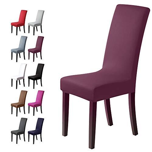 Fundas para sillas Pack de 4 Fundas sillas Comedor Fundas elásticas, Cubiertas para sillas,bielástico Extraíble Funda, Muy fácil de Limpiar, Duradera (Paquete de 4, UVA púrpura)