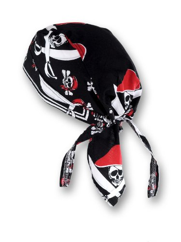 memego Bandana Cap Kopftuch Pirat Skull Schwarz Rot