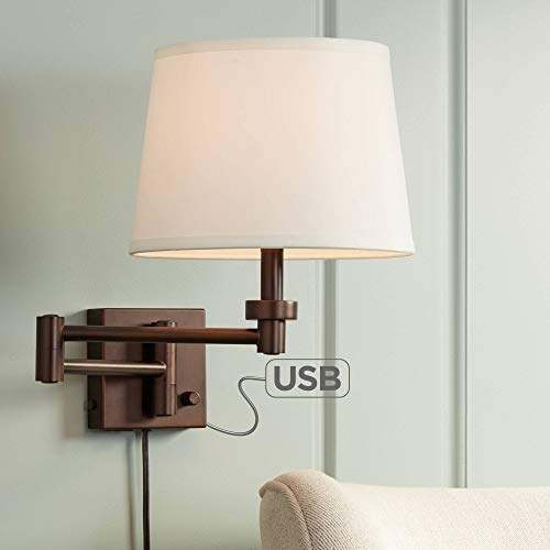 Vero Modern Swing Arm Wall Lamp with USB Charging Port Oil Rubbed Bronze Plug-in Light Fixture Cream Drum Shade for Bedroom Bedside Living Room Reading - 360 Lighting