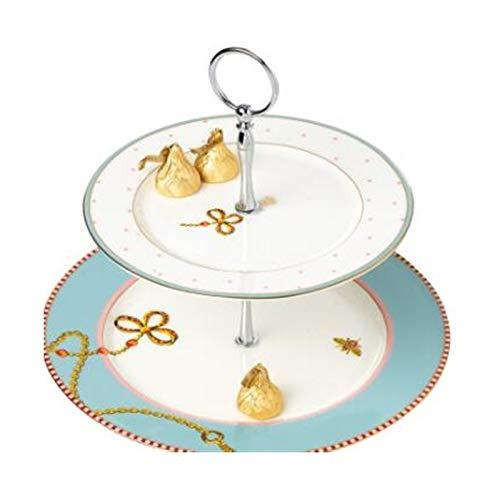 Torta de cerámica Europea Soporte Snack Placa Moderno Minimalista Minimalista Fruta Banquitería Bandeja Fiesta Boda Postre de doble capa Placa de caramelo Tiempo dulce para la fiesta de té de la tarde