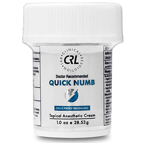 Quick Numb 5% Lidocaine Topical Numbing Cream for Fast Pain Relief, 1 Oz Maximum Strength Deep Penetrating Pain Relief Cream Anesthetic with Aloe Vera, Vitamin E, Lecithin with Child Resistant Cap