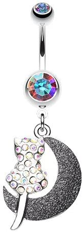 WildKlass Jewelry Moonlight Dream Kitty 316L Surgical Steel Belly Button Ring
