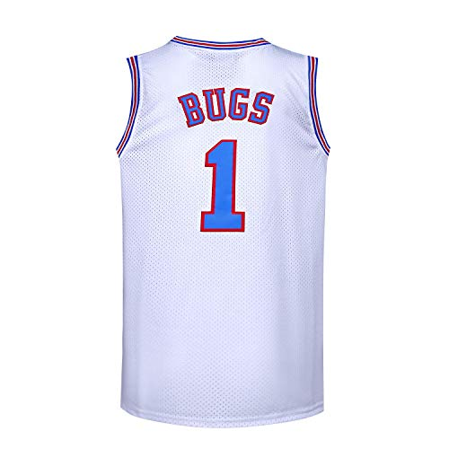 Youth Basketball Jersey #1 Moive Space Jam Jerseys Bugs Shirts for Kids (White, Youth Small)