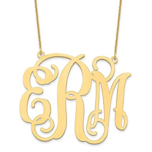 Jewelry-14KY Extra Large Polished Cut Out Monogram Necklace