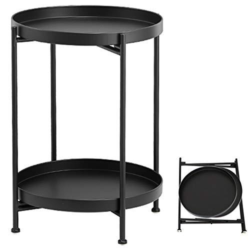 Mesa auxiliar de TZAMLI de metal, redonda, con bandeja extraíble y estante,...