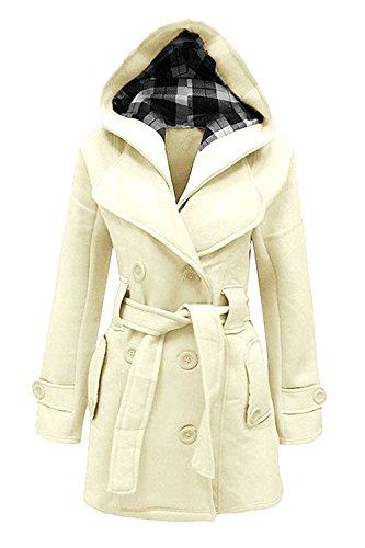Minetom Damen Herbst Winter Lange Mantel Mit Kapuze Gürtel Militärstil Zweireihig Jacke Outwear Staubmantel Trenchcoat Plus Größen Beige DE 34
