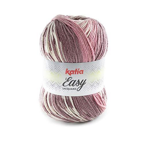 Katia Easy Jacquard Farbe altrosa/mauve/natur (306) - 250g ca. 400m Wolle Norwegermuster zum stricken