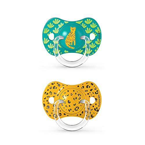 SUAVINEX Nuevo Pack 2x Chupetes Fisiológicos Sx Pro, Para Bebés +18 Meses, Tetina Más Plana Y Flexible, color Verde, +18 Meses, 43 g - Pack de 2