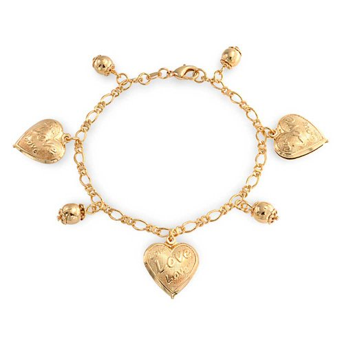 Bling Jewelry Message Love Hearts Charm Bracelet for Women for Girlfriend 18K Gold Plated Brass 7.5 Inch