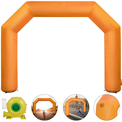 Happybuy Inflatable Arch Orange 20ft, Hexagon Inflatable Arch Built in 100W Blower, Inflatable Archway for Race Outdoor Advertising Commerce