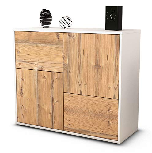 Stil.Zeit Sideboard Carla/Korpus Weiss matt/Front Holz-Design Pinie (92x79x35cm) Push-to-Open Technik